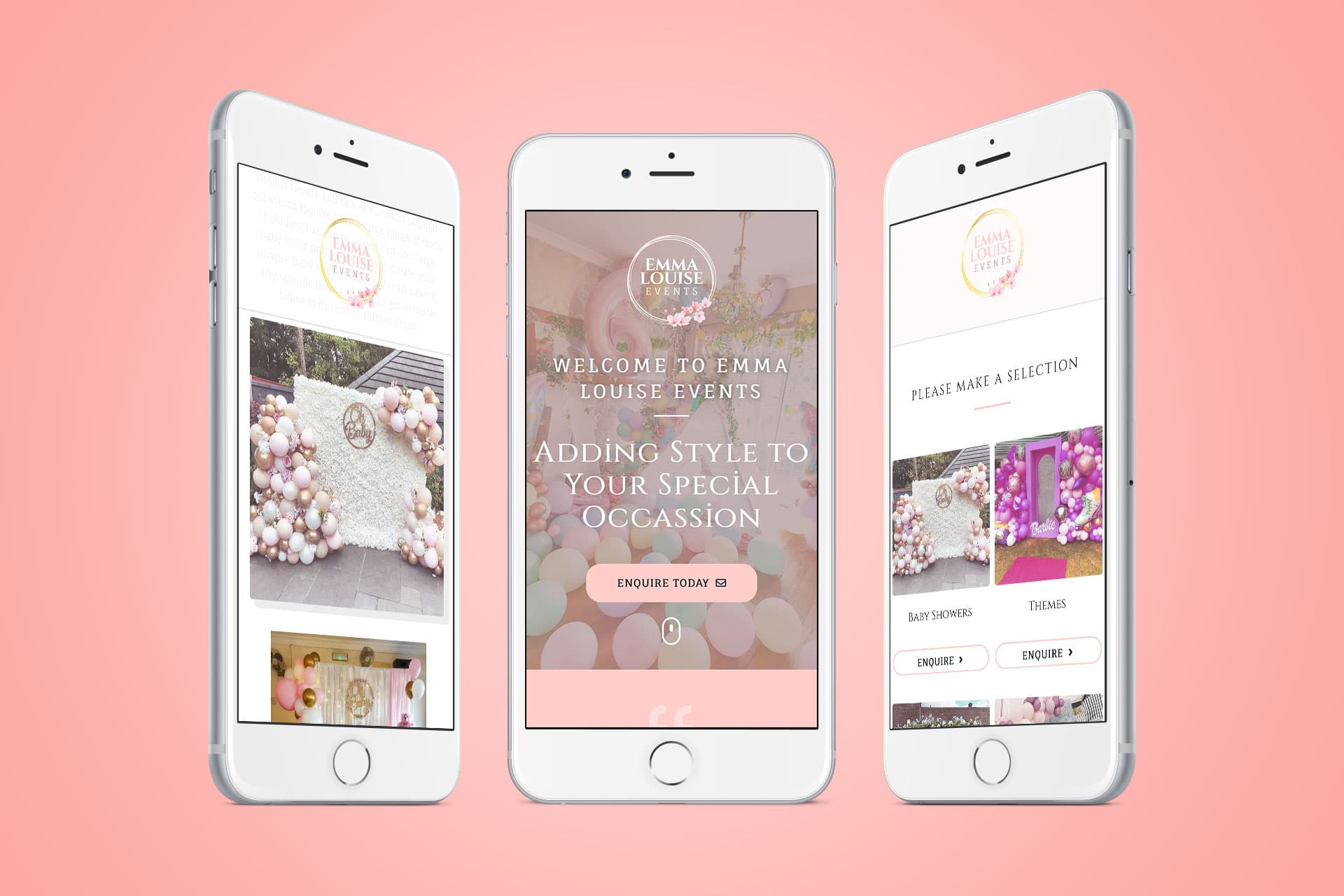 Emma Louise Events Responsive mobile Website